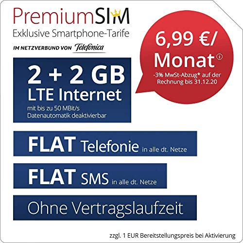 Handyvertrag PremiumSIM LTE S - ohne Vertragslaufzeit (FLAT Internet 4 GB LTE mit max. 50 MBit/s mit deaktiverbarer Datenautomatik, FLAT Telefonie, FLAT SMS und EU-Ausland, 6,99 Euro/Monat)