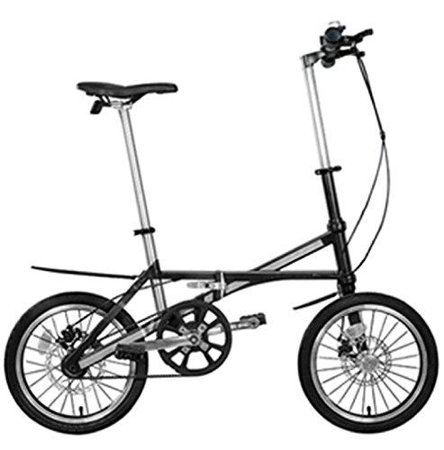 hife Klapprad, Carbon, Circa 7 Kilo, Extrem Leicht, 16 Zoll, Faltrad, Riemenantrieb, Camping oder Pendler (matt grau)