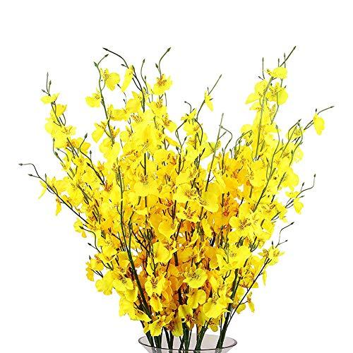 Artificial Orquídeas Flores 10 Piezas De Seda Falso Orquídeas Flores Granel Orquideas Flores Artificiales para Ministerio De Interior Boda Al Aire Libre Decoración Festiva Yellow