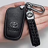 for Car Key Fob Cover Logo Smart Key case Fob Suit for Toyota RAV4,RAV4 Series,Toyota Camry,Toyota Avalon,Toyota Corolla,Toyota C-HR,86 / GT86,Prius(with a Key Chain)