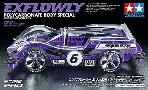 Radiokontrol Tamiya 95571 Mini 4WD PRO EXFLOWLY Polycarbonate Body Viola Telaio MS [Limited Edition] Kit Montaggio