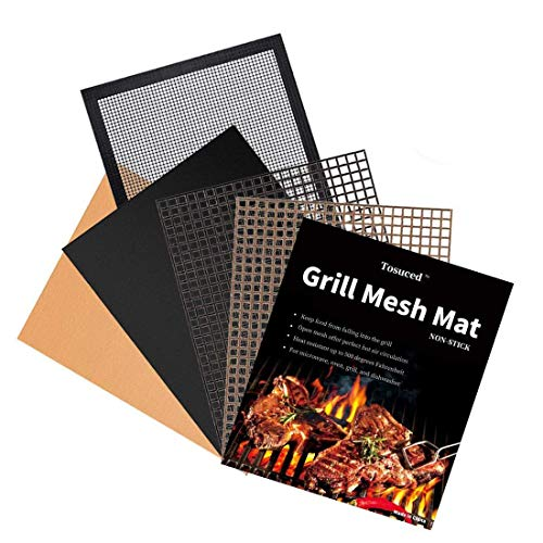 Tosuced BBQ Grill Mesh Mat Set of 5 - Non-Stick Premium Grill Cooking Mat, Reusable, and Easy to Clean Barbecue Grilling Accessories for Smoker, Pelle
