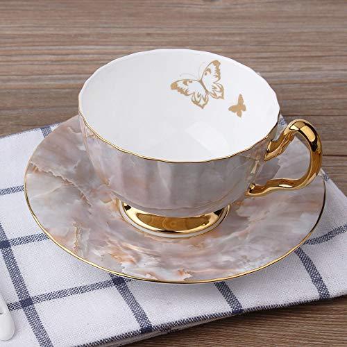 Kaffeetassen Mug,200Ml Keramik Mittelalterlich Schick Rosa Marmor Schmetterling Gold Rand Mit Griff Untertasse Wiederverwendbare Tee Milch Espresso Tasse Geschenk Für Mutter Frauen Ehemann Freund Ki