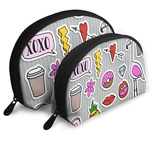 Shell Shape Kosmetiktasche Set Mode Patches Abzeichen und Aufkleber Tragbare Taschen Clutch Pouch...