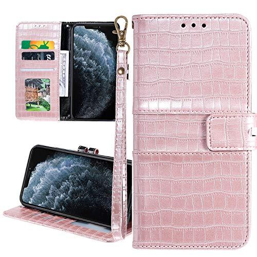 Nadoli Ledertasche für Xiaomi Redmi Note 9S,Krokodil Muster Männer Frauen Pu Standfunktion Flip Handy Schutzhülle Brieftasche mit Kartenhalter und Handschlaufe,Rose Gold