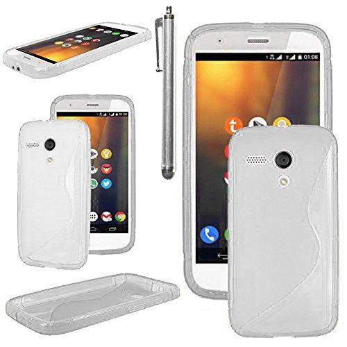 ebestStar - Cover Compatibile con Motorola Moto G, XT1032 Custodia Protezione S-Line Design Silicone Gel TPU Morbida e Sottile + Penna, Trasparente [Apparecchio: 129.9 x 65.9 x 11.6mm, 4.5'']