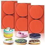 Palksky 3 Pcs 2-Cavity Round Silicone Rainbow Cake Mold, 5.5 Inch Large Circle Disc Resin Coaster...