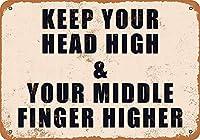 頭を高く保つ中指を高くするティンサイン壁鉄の絵レトロプラークヴィンテージ金属板装飾ポスター
