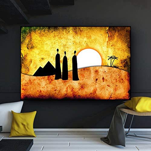 SADHAF Abstract Goud Afrikaans Landschap Karakter Olieverfschilderij op Canvas Poster en Prints Fotobehang in Woonkamer 30x40cm (no frame) A1