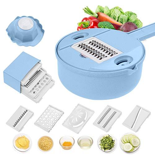 Jeslon Mandoline Slicer Cuts Fruits & Vegetables, Edelstahlklingen Multifunktions-Gemüseschneider & Reibe (Himmelblau)