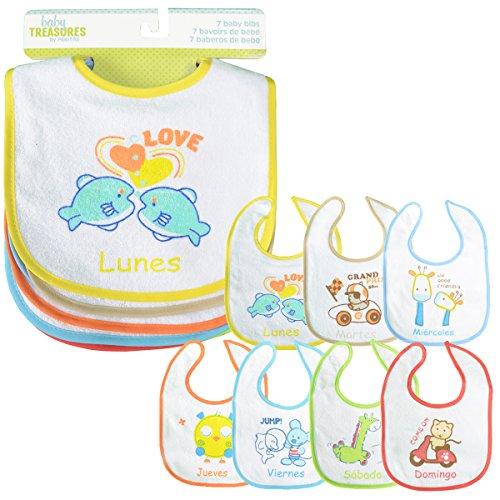 PEKITAS Set de 7 bavoirs pour bébé; Fermeture réglable et douce, avec couche imperméable, devant en coton Taille 28 cm x 21 cm