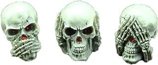 YOTATO 3 pcs Horror Human Skull Statue Resin Mini Handmade Creative Halloween Props Skull Sculpture Gift Home Decor