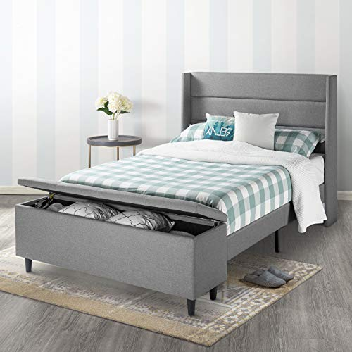 Mellow Platform Bed with Headboard and Bedside Storage Ottoman, Queen, Gray