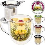 Taza de té de cristal doble con infusor de Teabloom & tapa +2 flores de té gourment - taza de té de 15 oz - la tapa sirve también de posavasos – set de regalo adorable para amantes del té