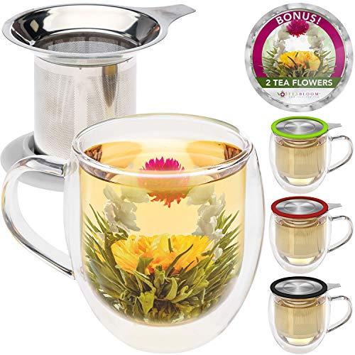 Teabloom Doppelwandiger Becher aus Glas mit Tee-Ei & Deckel + 2 Gourmet Teeblumen - 450 ml Teebecher - Deckel auch als Untersetzer einsetzbar - Hinreißendes Geschenk für Tee-Liebhaber - 4 Farben