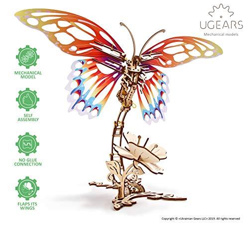 UGEARS Puzzle 3D Rompecabezas Mecánico - Mariposa Modelo de