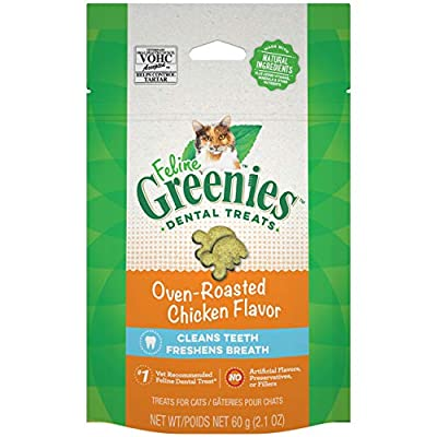FELINE GREENIES Adult Natural Dental Care Cat Treats, Oven Roasted Chicken Flavor, 2.1 oz. Pouch