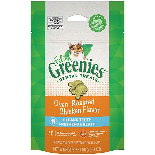 FELINE GREENIES Dental Cat Treats, Oven Roasted Chicken Flavor, 2.1 oz. Pouch