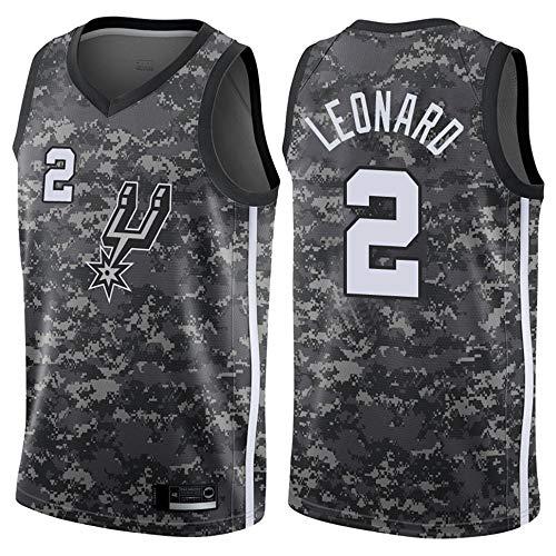 SHR-GCHAO Jersey di Pallacanestro Maschile - NBA San Antonio Spurs # 2 Kawhi Leonard T-Shirt della Maglia Sport, Sportivo sul Basket,XL(180~185cm/85~95KG)