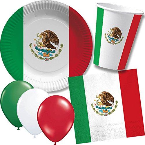 DH-Konzept/CARPETA 52-TLG. Party-Set * MEXIKO * mit Pappteller + Servietten + Pappbecher + Luftballons für Kindergeburtstag // Teller Becher Servietten Party Geschirr Deko Geburtstag Mottoparty