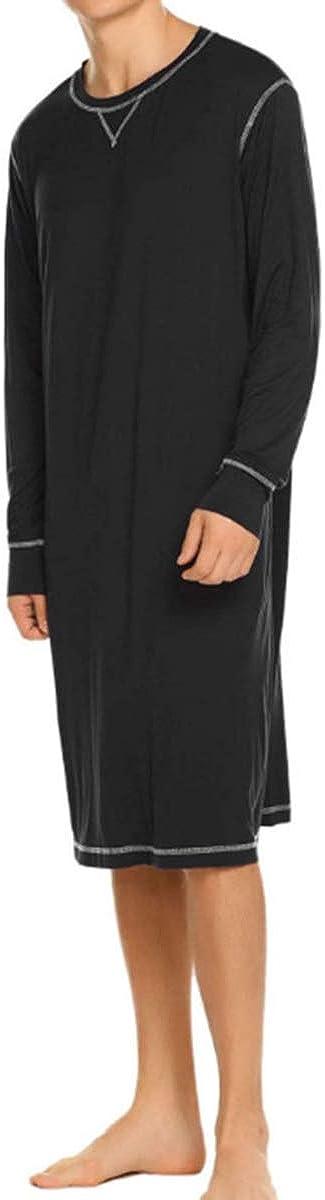 Men Solid Color Sleeve Sleep Tops Sleepwear Plus Size Gray