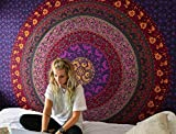 Purple Mandala Tapestry Wall hanging Hippie Tapestry Bohemian Tapestries Psychedelic Tapestry Blanket Bedding Bedspread Dorm Tapestry Bedding (Twin (54 X 84 inches approx)(137 X 213 cms), Purple)