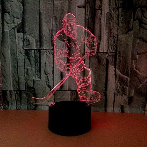 3D Hockey Lampe LED Nachtlicht Illusion Lampen 7 Farben ändern Berührungssteuerung USB schreibtischlampe Home Decor Kinder Weihnachten Geburtstag Beste Geschenk