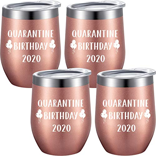 4 Pieces Funny Stay at Home Birthday Wine Tumbler Gift for Family, Friend, Classmate, Quarantine Birthday 2020, Happy Quarantine Birthday Supply, 12 oz Stemless Coffee Mugs with Straws Brush and Lid