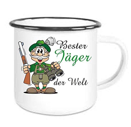 crealuxe Emailtasse mit Rand Bester Jäger der Welt - Kaffeetasse mit Motiv, Bedruckte Email-Tasse mit Sprüchen Oder Bildern