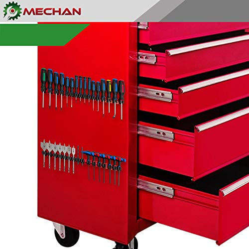 Mechan Magnetic Screwdriver Organizer Tool Holder Tray Rack, With Ultra Strong Neodymium Magnet Strip + Replacement Clips – Holds Screwdrivers, Drill Bits, Nail Sets,(Red Rail/Black Clips)