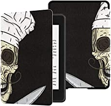 Universal Kindle Paperwhite Case Skull Toque Knifes Cartoon Skull Chef Cover para Paperwhite Kindle 2018 Case con Auto Wake/Sleep Kindle Paperwhite Case Funny 10th Generation 2018