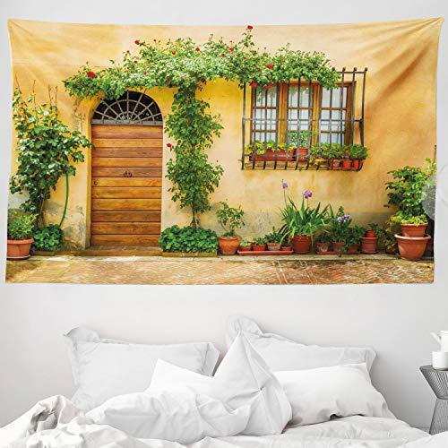 ABAKUHAUS Italien Wandteppich & Tagesdecke, Stadtleben in der Toskana, aus Weiches Mikrofaser Stoff Für den Wohn & Schlafzimmer Druck, 230 x 140 cm, Grün braun Aprikose
