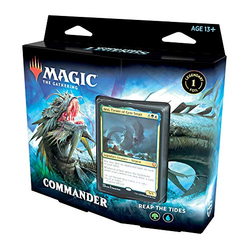 Magic: The Gathering Commander Legends Commander Deck – Reap The Tides | 100 Card Ready-to-Play Deck | 1 Foil Commander | Blue-Green