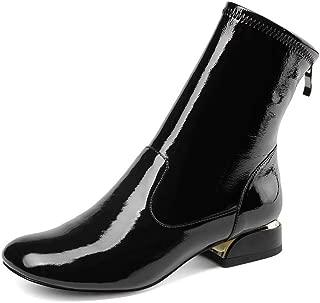 Nine Seven Patent Leather Women's Closed Square Toe Chunky Flat Heel Handmade Back Zipper Walking Dress Ankle Boots