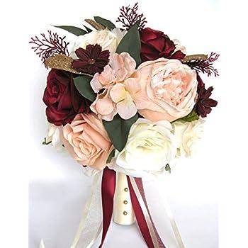 Amazon Com Wedding Bouquet 17 Piece Package Bridal Bouquets Silk Flower Bouquet Peach Blush Burgundy Wine Cream Gold Set Centerpiece Rosesanddreams Home Kitchen