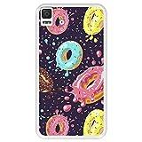 Hapdey Funda Transparente para [ Bq Aquaris E4.5 ] diseño [ Donuts con Chocolate y chispitas de Colores 2 ] Carcasa Silicona Flexible TPU