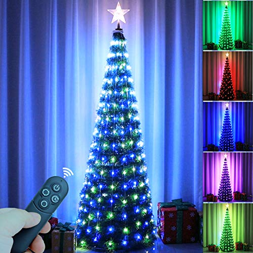 Epartswide Christmas Tree Artificial Christmas Tree with Lights Pop-Up Prelit Christmas Tree Collapsible 6FT Pencil Christmas Trees for Home Apartment Party Indoor Outdoor
