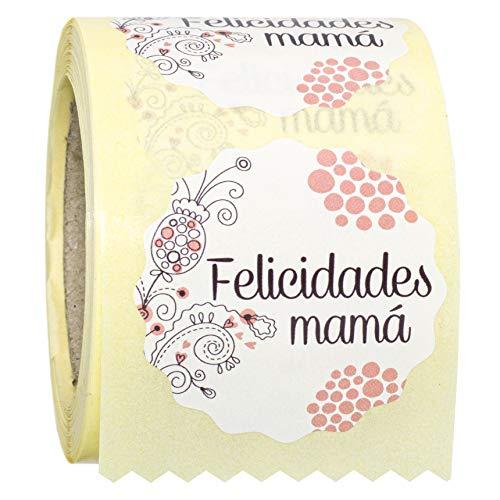 ETINOVA R010 - Etiquetas adhesivas, pegatinas, stickers, Regalos día de la Madre -Felicidades Mamá I - Rollo de 250 piezas - 42 mm