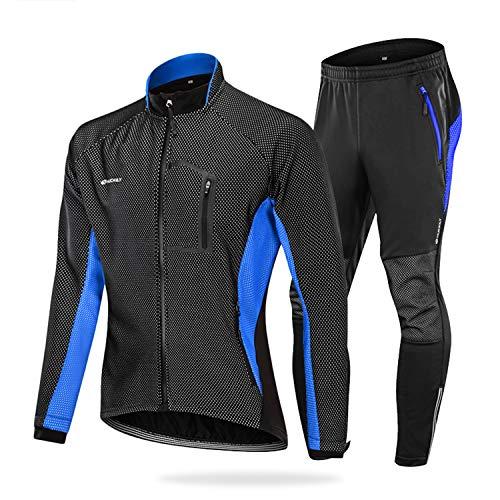 NUCKILY Herren Fahrradbekleidung Set Winddicht Thermo Fleece Winterjacke MTB Bekleidung Rennrad Fahrrad Trikot Langarm und Fahrradhose mit 3D Sitzpolster (ME020 Blau, L)