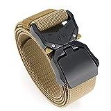 """TENINE Cinturón Elástico, Cinturones Para Hombre Mujeres Cinturón Táctico Cinta Cinturones de Lona Estilo Militar D Anillo Hebilla 1.5"""" Invisible Ajuastable Correa de Cintura (Caqui 03)"""
