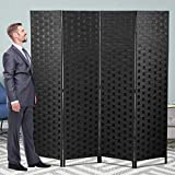 Wood Room Divider Wall Folding Screen Partitions, 4 Panel Folding Screen 6 Feet Foldable Panels Mesh Weave Partition, Portable Freestanding Room Dividers Double-Weave with Two-Way Hinges- Black