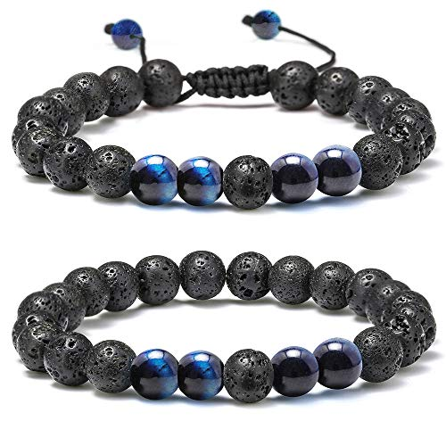 M MOOHAM Natural Bead Bracelet, 8mm Gem Semi Precious Stone Round Bead Black Lava Rock and Blue Tiger Eye Beads Bracelet, Men Women Stress Relief Yoga Beads Adjustable Bracelet Energy Stone Bracelet