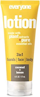 Everyone 3-in-1 Lotion for Hands/Face/Body with Natural Herbal Extracts and Essential Oils, Coconut and Lemon, 6 Fl Oz (Pack of 6)