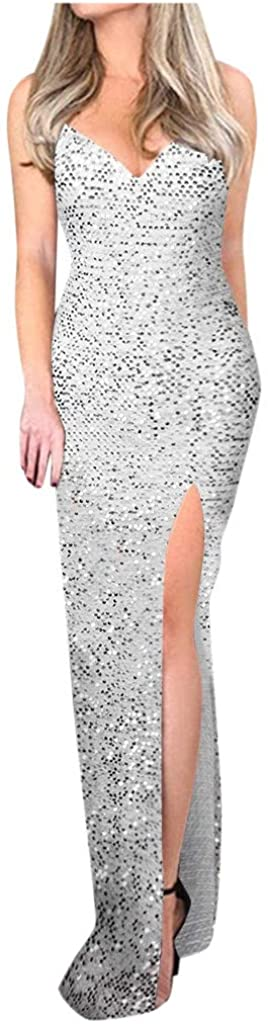 Aunimeifly Women Deep V Sequins Wrap Ruched Sleeveless Nightclub Party Dress
