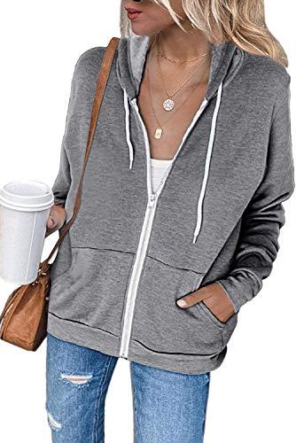 Maavoki Damen Zip Hoodie Langarm Kapuzenpulli Fleece Outwear Jacken Herbst Winter Sweatjacke
