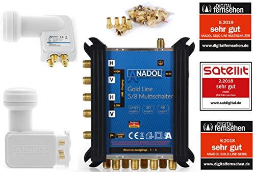 LNB + MULTISCHALTER Set: Anadol Gold Line 5/8 digitaler Multischalter [ Test SEHR GUT ] für 1 Satellit und 8 Ausgänge/Receiver + Anadol Quattro LNB [ Test 2X SEHR GUT ] 21 vergoldete F-Stecker gratis