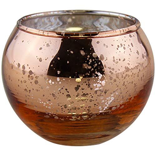 YarStore Versatile Chic Speckled Mercury Glass Votive Candle Holder 2' H Round (6pcs, Speckled Rose Gold Votives)