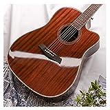 Zjcpow Guitarra, Brillante 41inch Spree Spruce Cerrado Perilla Sonido Claro Principiante Guitarra Popular Missing ángulo Guitarra de Chapa (Color: Marrón, Tamaño: 105 cm) xuwuhz
