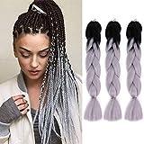 3Pcs/Lot Ombre Jumbo Braids Hair 24 Inchs Synthetic High Temperature Fiber Kanekalon Braiding Hair Extensions for Women (T1B Grey)