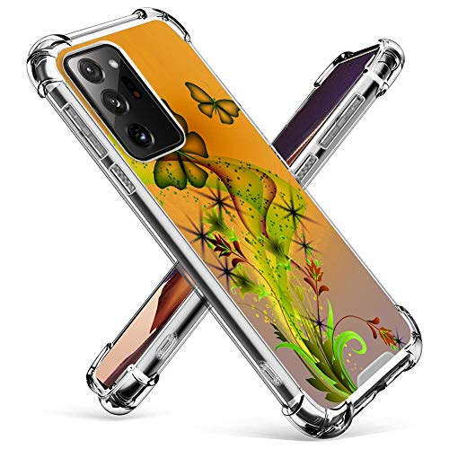 FAUNOW Samsung Galaxy Note 20 Ultra 5G Dream Butterfly Clear Case Case Case TPU Edge Protection Case para Samsung Galaxy Note 20 Ultra 5G